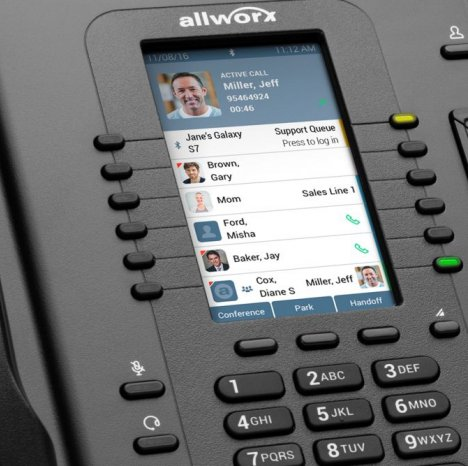 Up close view of an Allworx phone